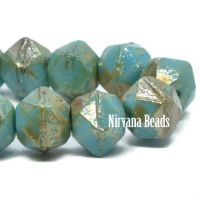8mm English Cut Blue Turquoise with a Picasso Finish