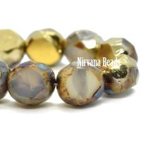 8mm Table Cut Faceted Round Ivory with a Picasso and Gold Finish