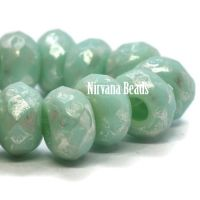 6x9mm Large Hole Roller Bead Tea Green with a Picasso Finish