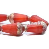 15x8mm Faceted Dangle Drop Scarlet and White with An Etched Finish and Copper Wash.