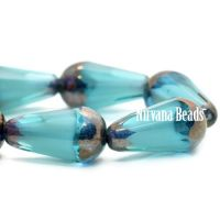 8x15mm Faceted Dangle Drop Sky Blue with a Bronze Finish