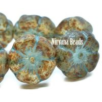 12mm Hibiscus Flower Transparent Glass with a Picasso and Etched Finish and a Turquoise Wash