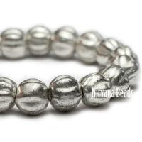 4mm Melon Antique Silver with White Wash
