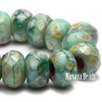 6x9mm Large Hole Roller Bead Sea Green Blend with Picasso Finish