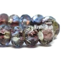 6x9mm Large Hole Roller Bead Blue, Purple, and Pale Yellow Mix with Silver Lining