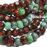3x4mm Trica Sea Green and Ruby Red Mix Collection