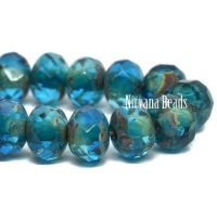 3x5mm Rondelle Pacific Blue with Picasso Finish