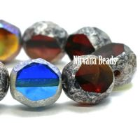 8mm Table Cut Faceted Round Mix Of Ruby Red, Rosewood, Sapphire, Sky Blue with Antique Silver AB Finish