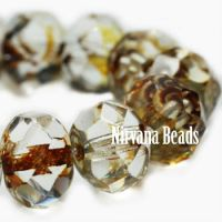 5x7mm Rondelle Amber with Picasso Finish