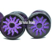22mm Sun Coin Purple Pansy with Purple Wash