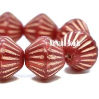 11mm Tribal Bicone Ruby and Ladybug Red with Copper Wash