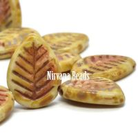 12x16mm Dogwood Leaves Honey with a Picasso Finish