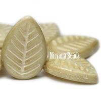 12x16mm Dogwood Leaves Yellow Ivory with Mercury Finish