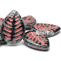 12x16mm Dogwood Leaves Black with Picasso Finish and a Red Wash