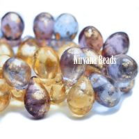 4x6mm Drop Mix Of Grape and Pale Yellow Gold with Gold Finish