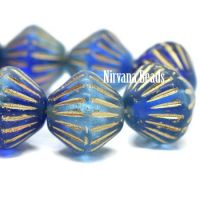 11mm Tribal Bicone Sapphire and Sky Blue with a Gold Wash