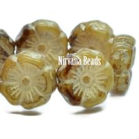 12mm Hibiscus Flower Beige with Ivory Wash and Mercury Finish