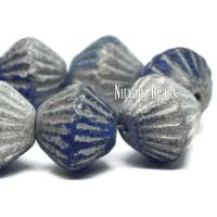 11mm Tribal Bicone Sapphire with a Silver and Etched Finish