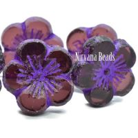 21mm Hibiscus Flower Purple with An Etched Finish and a Purple Wash