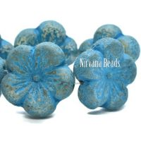 21mm Hibiscus Flower Transparent Glass with An Etched Finish and a Turquoise Wash