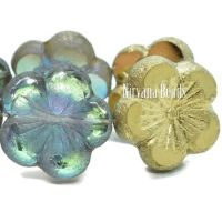21mm Hibiscus Flower Transparent Glass with An Etched Finish and a Gold Luster