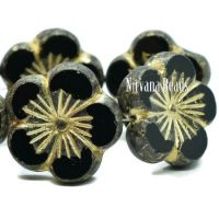 21mm Hibiscus Flower Black with a Gold Wash and a Picasso Finish