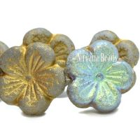 21mm Hibiscus Flower AB and Gold with An Etched Finish