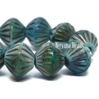 9mm Large Hole Tribal Bicone Sky Blue, Teal, and Emerald with a Bronze Finish