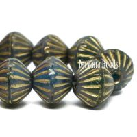 9mm Large Hole Tribal Bicone Teal and Emerald with a Gold Finish