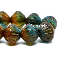 9mm Large Hole Tribal Bicone Teal, Amber and Emerald with a Bronze Finish