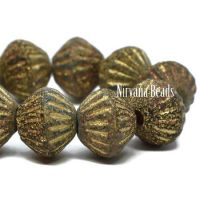 9mm Large Hole Tribal Bicone Black with Gold and a Picasso and Etched Finish
