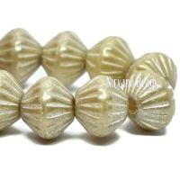 9mm Large Hole Tribal Bicone Yellow Ivory with An Antique Silver Finish