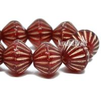 9mm Large Hole Tribal Bicone Ruby Red with a Copper Finish
