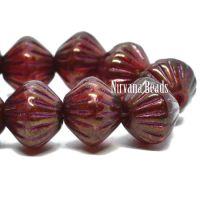 9mm Large Hole Tribal Bicone Burgundy with a Golden Luster and a Metallic Pink Wash