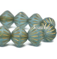 9mm Large Hole Tribal Bicone Baby Blue with a Gold Wash