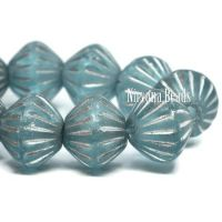 9mm Large Hole Tribal Bicone Sky Blue with a Silver Wash