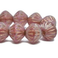 9mm Large Hole Tribal Bicone Pink An White with a Copper Wash