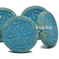 18mm Flower Of Life Coin Honey Picasso with a Turquoise Wash