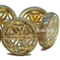 18mm Flower Of Life Coin Transparent Glass with a Picasso Finish and a Gold Wash