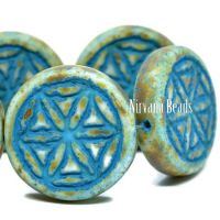 18mm Flower Of Life Coin White with a Picasso Finish and a Turquoise Wash