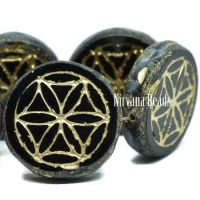 18mm Flower Of Life Coin Black with a Picasso Finish and a Gold Wash