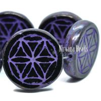 18mm Flower Of Life Coin Black with a Purple Wash