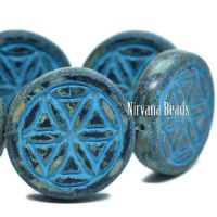 18mm Flower Of Life Coin Indigo with a Picasso Finish and a Turquoise Wash