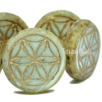 18mm Flower Of Life Coin Mint with a Picasso Finish and a Gold Wash