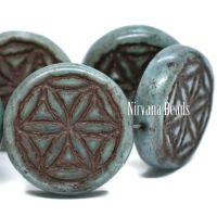18mm Flower Of Life Coin Blue-green with a Picasso Finish and a Brown Wash
