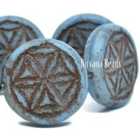 18mm Flower Of Life Coin Cornflower with a Brown Wash and a Matte Finish