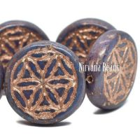 18mm Flower Of Life Coin Metallic Violet with a Copper Wash