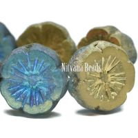14mm Hibiscus Flower Pale Blue with a Gold Luster and An Etched Finish