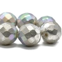 12mm Faceted Round Antique Silver with An AB Finish
