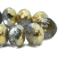 6x8mm Rondelle Transparent Glass with An Etched Finish and a Golden Luster